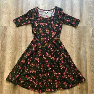 LulaRoe Nicole black floral dress